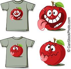 Camisa graciosa con dibujo animado de manzana lindo - ilustración vectorial