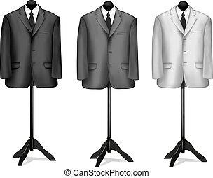 camisa negra, traje, blanco