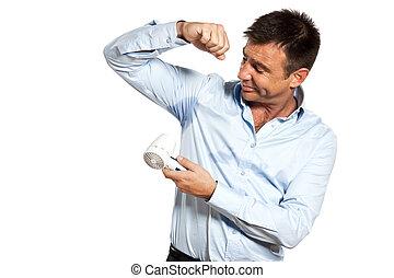 camisa, secado, uno, transpire, sudor, mancha, hombre