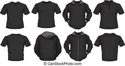 Camisas masculinas negras se templan