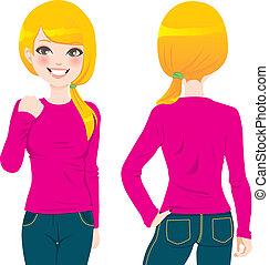 Camiseta de chica rubia