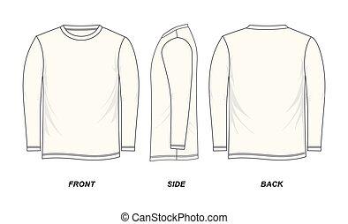 camiseta, largo - manga, plantilla