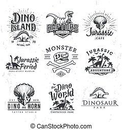 camiseta, período, diseño, tema, labels., vector, insignias, triceratops, set., ilustración, seguridad, insignia, logotipo, jurásico, template., concept., raptors, grande, dinosaurio, vendimia, parque