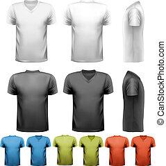 Camisetas masculinas coloridas. Diseño de plantilla. Vector.