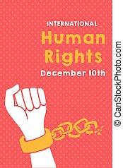 campaña, derechos, letras, mano, rotura, humano, cadenas