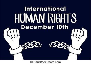 campaña, derechos, letras, rotura, humano, cadenas, manos