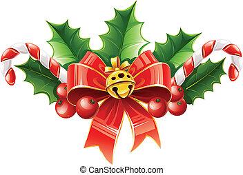 campana de oro, hojas, arco, decoración, acebo, navidad, rojo