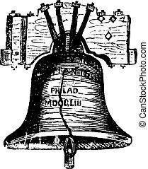 campana, grabado, filadelfia, estados unidos de américa, vendimia, pensilvania, libertad