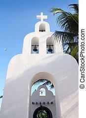 campanario, del, playa, iglesia, mexicano, blanco, carmen, archs