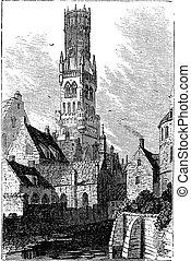 campanario, vendimia, brujas, bellfort, belgium., o, engraving.