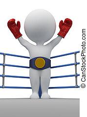 campeón, gente, -, boxeador, pequeño, 3d