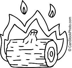 campfire, dibujo, peculiar, línea, caricatura