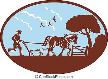 campo, caballo, arada, granjero
