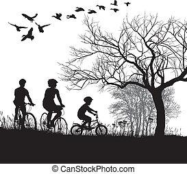 campo, ciclismo, familia