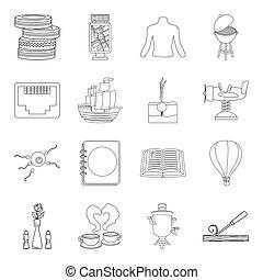 Campo, cultivo, mantenimiento y otro icono web en el estilo de esbozo. Medicina, juego, construir iconos en conjunto colección.
