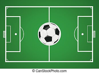 campo del fútbol, pelota, vector