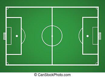 campo, ilustración, futbol, vector