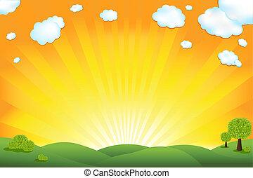 Campo verde y cielo amanecer