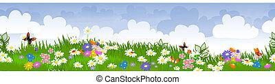 Campos de flores sin borde