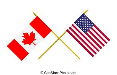 canadá, banderas, estados unidos de américa