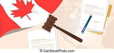canadá, concepto, constitución, justicia, legislación, bandera, legal, ensayo, pluma, papel, martillo, utilizar, ley, juicio