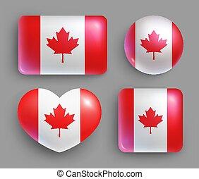 canadá, conjunto, botones, país, bandera, brillante