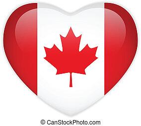 canadá, corazón, bandera, brillante, botón