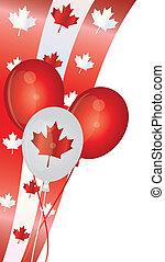 canadá, globos, día, ilustración, feliz