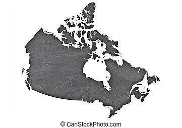 canadá, pizarra, oscuridad, mapa