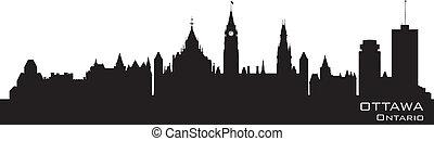 canadá, skyline., detallado, ottawa, silueta