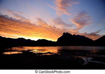 canadiense, bermellón, mañana, monte, lagos, rundle, canadá, rockies