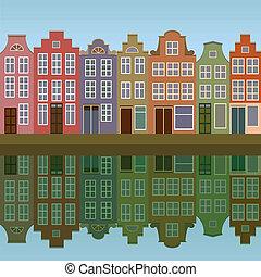 canal, casas, amsterdam