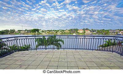 canal, el pasar por alto, vistas, puerto, mansión, balcón