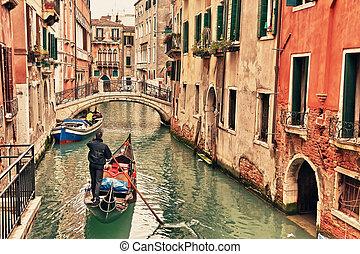 canal, góndola, venecia