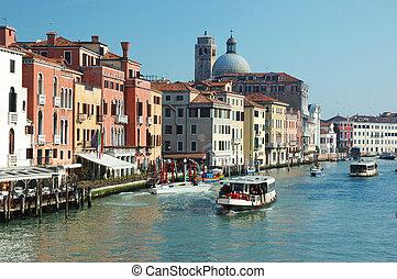 canal, italia, venecia, vista, magnífico