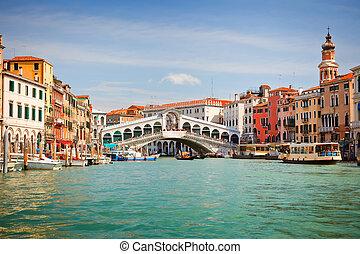 canal, puente, venecia, encima, magnífico, rialto