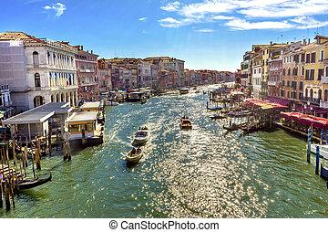 canal, venecia italia, agua, góndolas, magnífico, transbordador, público, vaporettor