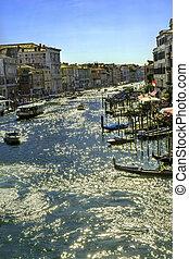 canal, venecia italia, agua, magnífico, transbordador, público, vaporettor