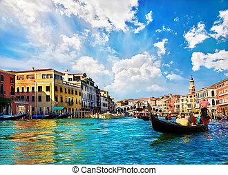 canal, venecia italia, góndolas, magnífico, puente rialto