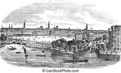 Canal y edificios en Hamburgo, cosecha de Alemania