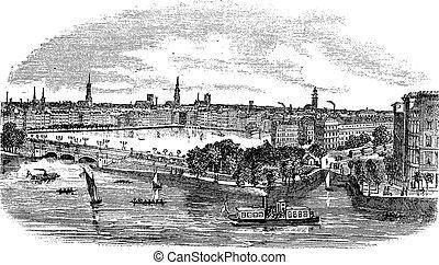 Canal y edificios en Hamburgo, grabado de Alemania