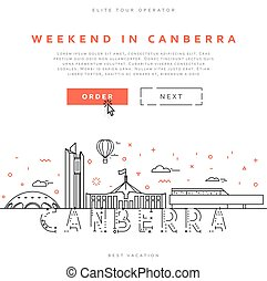 canberra., ciudad, aterrizaje, página, australia., fin de semana, capital