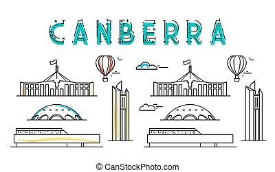 canberra., ciudad, vistas, town., australia., australiano, capital