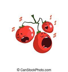 Canción de tomates rojos, lindos personajes vegetales con caras graciosas ilustraciones vectoriales