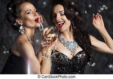 canción, mujeres que ríen, bebida, champaña, canto, navidad, feliz