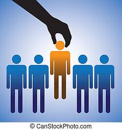 candidate., elaboración, opción, trabajo, ilustración, mejor, exposiciones, persona, habilidades, gráfico, derecho, muchos, concepto, candidatos, compañía, arriendo
