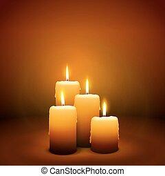 candlelight, advenimiento, -, domingo, 4, cuarto, vela