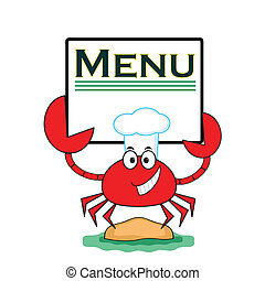 Cangrejo con menú pancarta