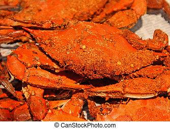 cangrejos, maryland, cocido al vapor