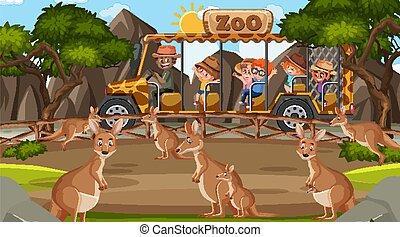canguro, safari, niños, mirar, escena, día